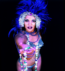 Mardi graS (fotoattack) Tags: blue mamiya glitter silver beads 3d interestingness interesting pretty purple feathers mardigras prettygirl advertise fotoattack
