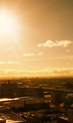 Glasgow (LiseMac) Tags: city sky 15fav cloud sun buildings river scotland clyde view motorway bright glasgow balcony centre windy hills hues 11thfloor viewfrombalcony davaar yellowtones