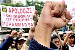 Contradiction... (Stephan Segraves) Tags: world denmark freedom riot europe muslim islam cartoon protest ap danish spinning chase speech cartoons