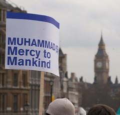 Muhammed and Big Ben (Luke Robinson) Tags: uk london march muslim islam politics rally trafalgar trafalgarsquare 2006 demonstration cartoons islamic trafalgarsq