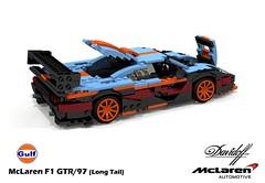 McLaren F1 GTR - 1997 (Long Tail - Davidoff/Gulf) (lego911) Tags: auto uk england english car woking model gulf lego stuck render engine f1 ron mclaren gordon gb bmw 1997 british dennis murray supercar challenge 92 lemans 1990s 90s cad sportscar racer lugnuts gtr povray v12 davidoff moc ldd miniland hypercar lego911 stuckinthe90s