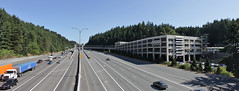 Mountlake Terrace Freeway Station panorama (SounderBruce) Tags: panorama i5 parkinggarage freeway interstate busstation solarpanels interstate5 communitytransit mountlaketerrace hovlanes freewaystation mountlaketerracetransitcenter mountlaketerracefreewaystation