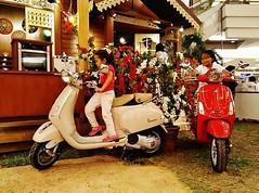 young riders (SM Tham) Tags: flowers decorations grass kids buildings children vespa eid malaysia shoppingmall scooters atrium ramadan aidilfitri selangor theoval oneutama bougainvilleas malaystyle