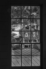 Through the windows lies Harpers Ferry (garylestrangephotography) Tags: old bridge vacation blackandwhite usa white house holiday black building window glass harpers ferry train canon outside eos grey nationalpark outdoor south north transport colonial maryland rail railway roadtrip civilwar westvirginia slavery jeffersoncounty garylestrangephotography