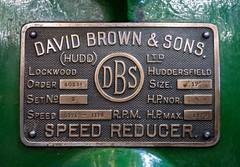 David Brown & Sons Plate (Jez B) Tags: kempton park pumping engine pump steam triple expansion station david brown sons gears gearbox speed reducer huddersfield lockwood dbs