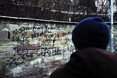 The Writings On The Wall (Isengardt) Tags: writings text zeichen sign graffiti spray spraydose schmiererei person mensch mann fisherman friend idiot jokkel bauer ficker composition komposition street strase wall mauer wand winter schnee snow weinberg vineyard olympus omd em1 1250mm stuttgart badenwürttemberg deutschland germany europe europa arschloch pisser