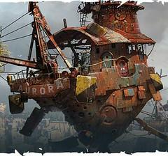 Flutuantes (marciorodgs) Tags: maquinas flutuantes flutuar ar carros veículos ilustração desenho desenhos ilustrações sucata sucatas lata latarias latão trems barcos navios