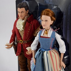 Film Collection Belle and Gaston Doll Set - Live Action Beauty and the Beast - Disney Store Purchase - Deboxing - On Backing - Midrange Right Front View (drj1828) Tags: us disneystore beautyandthebeast liveactionfilm 2017 belle gaston disneyfilmcollection 12inch posable dollset blue peasant dress deboxing