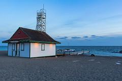 Leuty Lifeguard Station (Nicoli OZ Mathews) Tags: toronto canon blue bluehour blogto canada landscape lakeontario sunset bluesky clouds dog dogs beach water leuty leutylighthouse