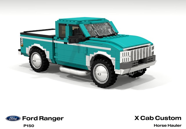 auto two usa moon ford car america truck team model ranger lego stuck offroad render 1996 4wd utility pickup hose ute chrome trailer custom rider equestrian challenge 92 1990s 90s cad lugnuts v6 povray moc ldd p150 miniland lego911 stuckinthe90s