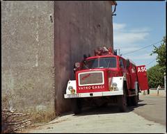 Lun, Pag Island, Croatia. (wojszyca) Tags: mamiya rz67 6x7 120 mediumformat 110mm kodak ektar 100 gossen lunaprosbc epson car fire truck soloparking lun croatia pag island 2015 v800