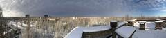 Roof panorama Polissya Hotel, Pripyat.