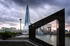 Throwing Shapes. (Andy Bracey -) Tags: bracey andybracey andybraceyphotography london england greatbritain shard theshard londonbridge number1londonbridge angles analternativeview changeofperspective adifferentview alternate cityscape landscape tourist cloudy stormy thames river riverthames streetlight handrail windows nikon analternateview throwingshapes