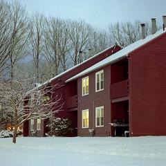 (Patrick J. McCormack) Tags: hasselblad 500cm kodak portra film 120 6x6 analog night snow winter glow vermont home suburbs