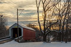 Sunrise Moods Bridge (jwfuqua-photography) Tags: landscape winter coveredbridges bridges pennsylvania jwfuquaphotography jerrywfuqua perkasie moodscoveredbridge buckscounty nature sunrise