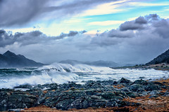 Storm waves at Flø III (Usstan) Tags: wind nikon winter sigma møreogromsdal mountains day cold norway seasons blue sunnmøre cliff d750 2470mm storm westcoast seaspray noon outdoor rough sea flø clouds costal motion locations ocean lens landscape norge water waves sky seascape ulstein rain colors rocks