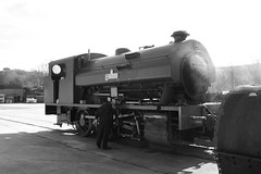 2996-02 (Ian R. Simpson) Tags: 2996 victor bagnall steam locomotive train lakesidehaverthwaiterailway loco engine bw
