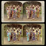 T. ENAMI's CLASSIC MEIJI-ERA 3-D IMAGE OF BABYSITTERS in YOKOHAMA -- Comparing Colors thumbnail