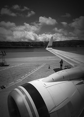 Preparing for take-off (TMimages PDX) Tags: people usa tarmac airplane geotagged airport aviation jet terminal worker takeoff runway sanfranciscointernational iphoneography