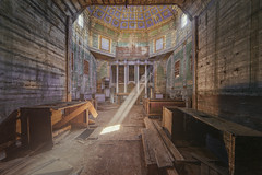 Godbeams (klickertrigger) Tags: wood abandoned church colors woodwork wooden god decay holy rays orthodox beams