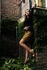 (holly_shope) Tags: people usa black green leaves portraits georgia ellen belt iron bricks ivy naturallight pale redlips savannah brunette diffused nudeheels
