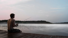 Fishing (lazersquid) Tags: morning boy shirtless mist lake fish man water fog marina swimming docks skinny boats outdoors dawn evening bay pier fishing dock dusk muscular piers country relaxing pole catching topless blonde rod catch caught reel bobber gotchya