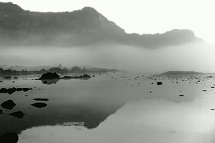 Lofoten Zen Moment (aha42   tehaha) Tags: morning sea bw mist water norway fog norge lofoten noreg