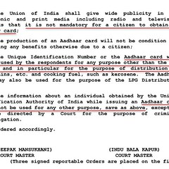 Aadhar is not mandatory except for LPG subsidy, food ration and kerosine as per 11th August 2015. No need to take or give Aadhar to anyone.          http://judis.nic.in/supremecourt/imgs1.aspx?filename=42841
