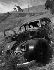 Ansel Adams (Peer Into The Past) Tags: history 1957 california church oldcar blackandwhitephotography photography blackandwhite anseladams