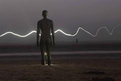 Sparkling Gormley (Milou Diable) Tags: lightpainting gormley anotherplace crosby liverpool beach sea seaside horizon lowlight dark night darkness silhouette sculpture