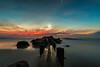 Under the Moon - in Explore 🌙 (sparkyloe) Tags: inexplore explore moon sun outdoor beach ocean seascape clouds sunrise glow light illumination canon5d crescentmoon water image photo longexposure