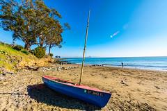 Blue Sailboat on San Quentin Beach (YT Blue) Tags: marin california bay beach sailboat sanquentin bridge sanfrancisco blue sky