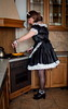 Cooking (blackietv) Tags: maid dress gown black white satin petticoat lace apron kitchen cooking tgirl transvestite crossdresser crossdressing transgender