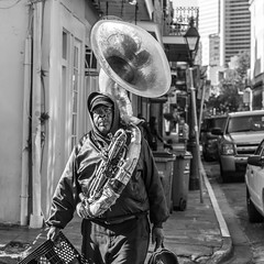 Sousaphone on the way to work (brucenmurray) Tags: neworleans nola street bnw streetphotography sousaphone nawlins blackandwhite bw