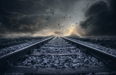 The Track (dommylive) Tags: storm landscape railway clouds lightning birds track rail surreal