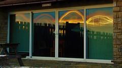 sunset surprise (jenbrasnett) Tags: sunset reflection unexpected quadruplicate fence shining windows colourful smile