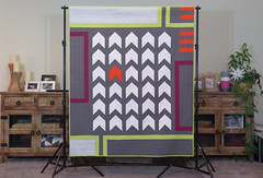 More Stop Than Go full copy (Quiltachusetts - Heather Black) Tags: modern contemporary quilt geometric solid grey white orange green burgandy chevron walking foot quilting striaght line inspired by orla kiely