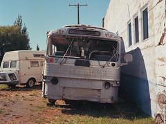 (el zopilote) Tags: street greyhound bus 120 film architecture oregon mediumformat 645 cityscape haines pentax kodak wheels 500 townscape generalmotors smalltowns ektar easternoregon scenicruiser pd4501 pentaxsmcpentaxa64575mmf28