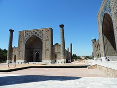 Ulugh Bek Madrasah, Registan, Samarkand, June 2015 (leonyaakov) Tags: summer museum ceramic minaret muslim religion ceremony mosque unesco promenade uzbekistan samarkand citycenter sunnyday citytour ouzbekistan greatphotographers inspiredbylove   nikonflickraward