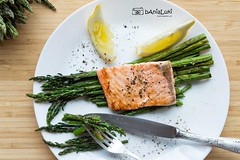 Asparagus (lukcinek) Tags: food green yellow lemon salmon grill asparagus