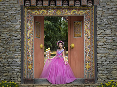 Door (Fevzi DINTAS) Tags: door flowers wedding portrait people cute girl beautiful fashion wall pose asian thailand photography gate waiting pretty dress modeling style human single lovely prewedding ladt paza140
