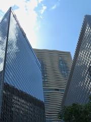 Chicago, Skyscraper Trio, including Aqua Tower (Mary Warren (8.3+ Million Views)) Tags: chicago urban architecture building skyscraper aquatower jeannegang