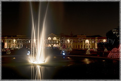"""Christmas ligths at the public gardens, Varese (""""Max Deca"""") Tags: fountain foreground christmas lights publicgardens varese evening scenic house municipality holiday city water"""