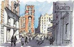 Palacio de la Prensa (P.Barahona) Tags: arquitectura urbano edificio calle plaza pbarahona madrid dibujo tinta acuarela