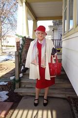 Dressing To Be Seen (Laurette Victoria) Tags: winter coat gloves hat scarf purse woman laurette wisconsin porch