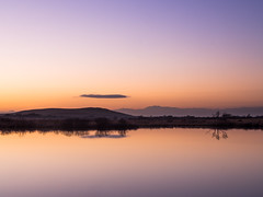 Dusk at Broadpool (DBLucas_photos) Tags: broadpool gower swansea landscape dusk winter sunset lake pond water reflection trees hills colour olympus lightroom em10 omd wales