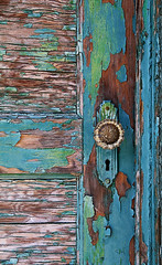 Painted Door (studioferullo) Tags: abstract architecture art beauty blue bright building colorful colors green brown contrast decay design detail door downtown doorknob house keyhole latch light lock old outdoor outside paint peeling pretty rust scene study sunlight street texture tone weathered wood world barrioviejo tucson arizona
