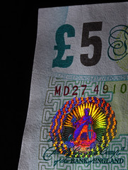 The Soon To Be Old 5 Pound Note - Hologram (1selecta) Tags: hologram £ £500 note paper money cash 5 green red blue white black yellow orange britania fiver