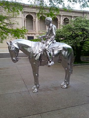 A rider and a horse (Dubi Kaufmann) Tags: sculpture horse silver aluminum ray charles rider artic