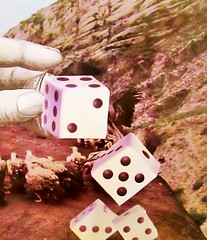 The Unanswered Question About Choices (joannmuench) Tags: dice gambling field collage vintage outside hand fingers surreal cliffs retro turkeys dada cutandpaste desertloca joannmuench